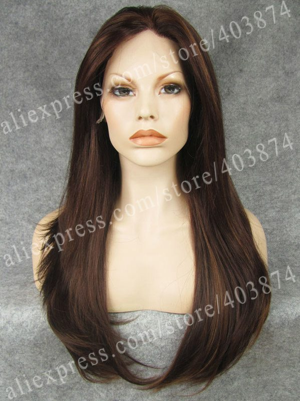 n2 3330y best sale reddish auburn color long silky straight texture synthetic lace front wigs heat resistant wig - Auburn Coloration