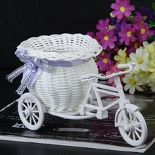 Hot Handmade rattan baskets tricycle bicycle flower basket vase Home Decor Garden Wedding Party Decoration Office Bedroom(China (Mainland))