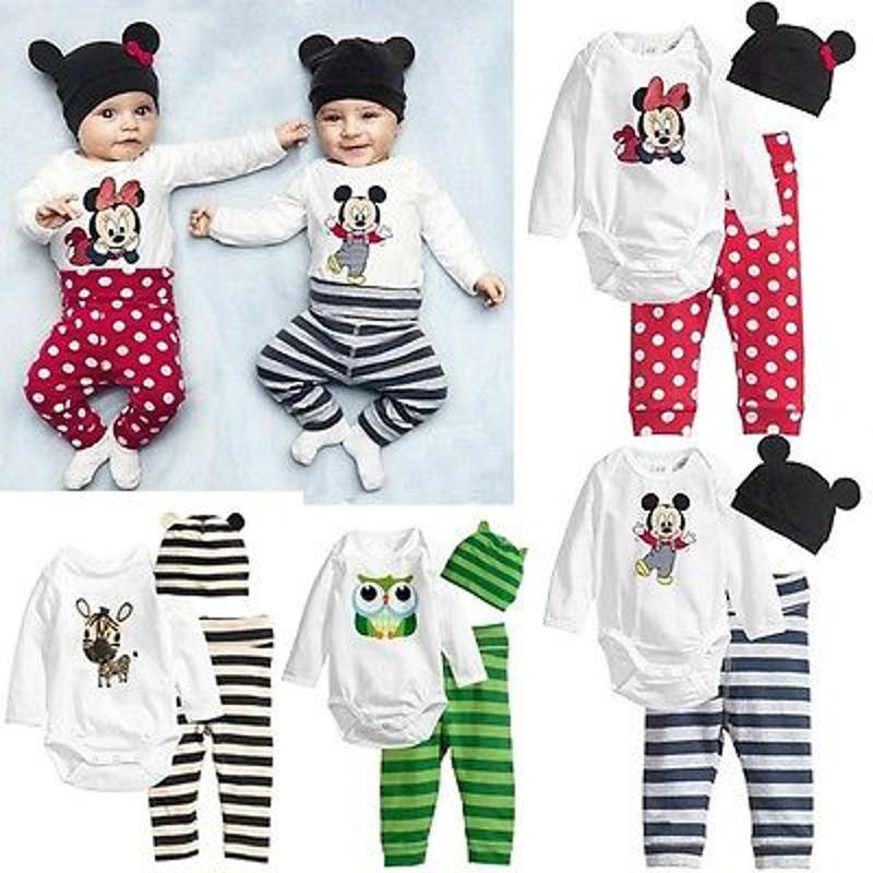 Baby Kids Boys Girls Clothing Sets Long sleeve+hat+pants 3pc Casual Cute Clothing Toddler Baby Sets(China (Mainland))