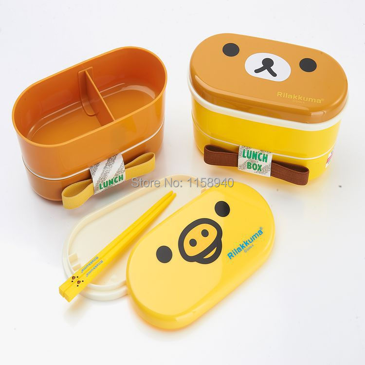 1 pcs double layer heat resistant rilakkuma bento container lunch box with chopsticks lunch box. Black Bedroom Furniture Sets. Home Design Ideas