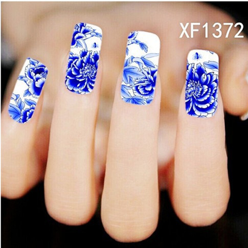 [D-XFXF1372] 1 Sheet New Nail Art Full Cover Blue Flower Stickers Decals Water Transfer Wraps Decorations Manicure Care Tools(China (Mainland))