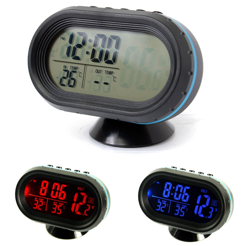 12-24V Digital Auto LCD Display Backlight Temperature Thermometer Car Voltmeter Digital Tester Monitor Meter Voltage Alarm Clock(China (Mainland))