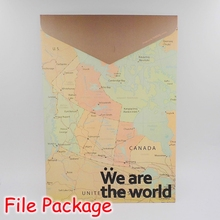 (12 Pieces/Lot) The World Map Design Vintage File Bag / Hard Paper Stationery File Folder A4 / Document Bag FRS-95(China (Mainland))