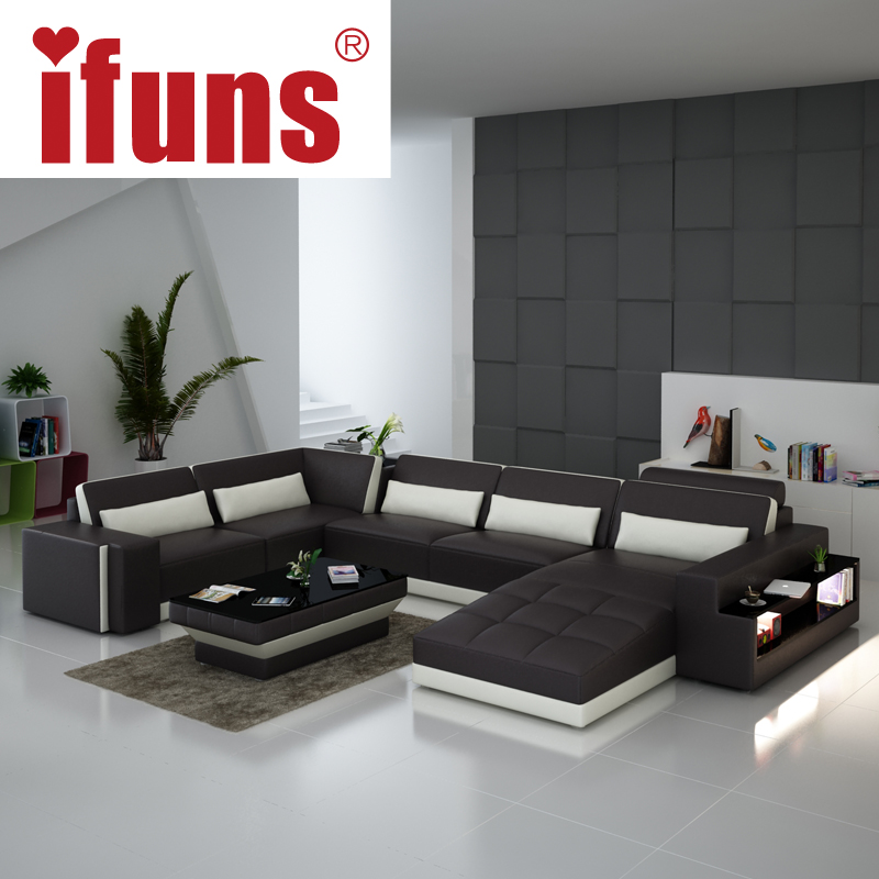 Ifuns luxury sofa sets u shaped top grain italian real for Best sofa sets for living room
