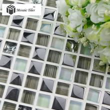TST metal plating glass tiles delicate elegant grey hand painting streamline decorative tile wave kitchen bathroom backsplash
