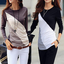 Women Tee Tops 2015 New Arrival Fashion Cotton Long sleeve T-shirt O-Neck Mixed Color T Shirt  Blusas Femininas Free Shipping(China (Mainland))