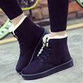 2016 autumn and winter snow boots female student flat with thick cotton lace shoes boots ankle