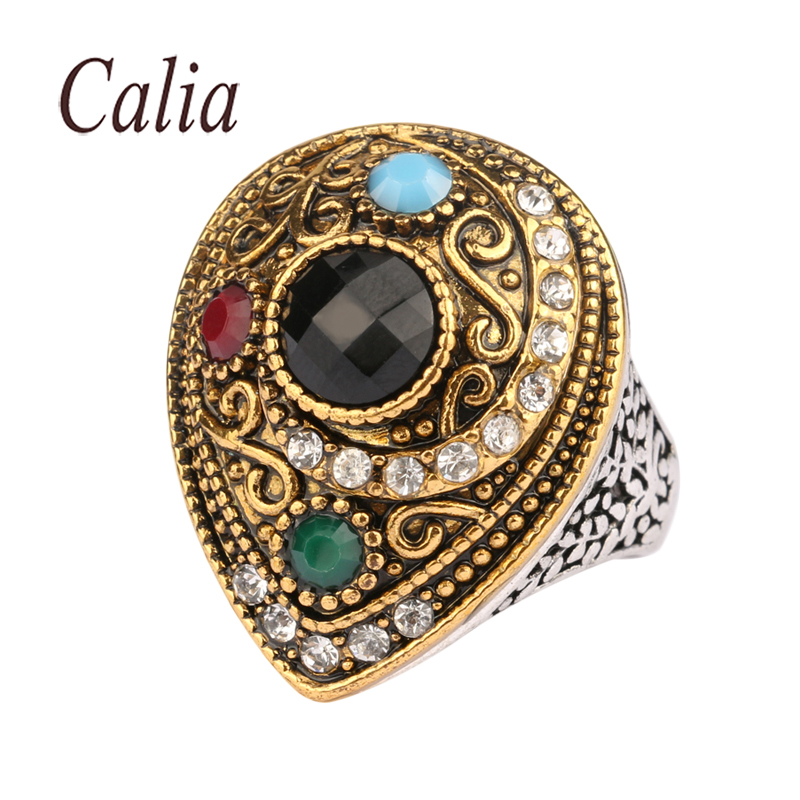Anillos From India Vintage Wedding Ring 2016 Fashion Gold Plated Jewelry Water Drops Shape Turquoise Big Rings For Women(China (Mainland))