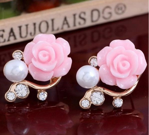 556KSE Nice Korean Brief Pearl Camellia Earrings For Girl Fashion Earrings(China (Mainland))