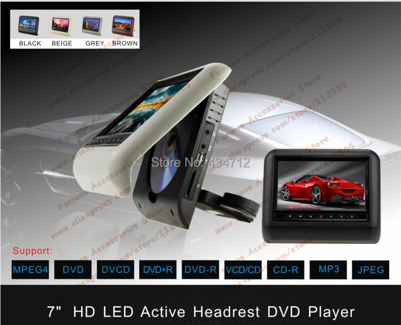 7inch Auto car headrest DVD Player clip-on/ Detachable/ active monitor with USB SD IR FM SPK Game stick, 2 master DVD(China (Mainland))