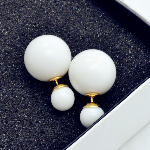 Гаджет  New Fashion jewelry double side pearl stud gift for women girl free shipping mix color E2505 None Ювелирные изделия и часы