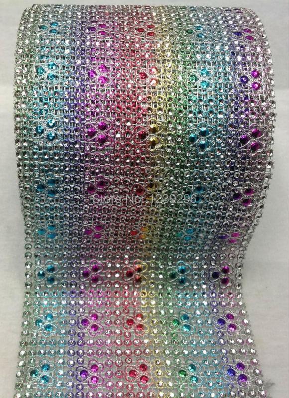 colourful heart flower plastic rhinestone mesh trimming sewing mesh trim 10yard/ roll free shipping for wedding decoration(China (Mainland))