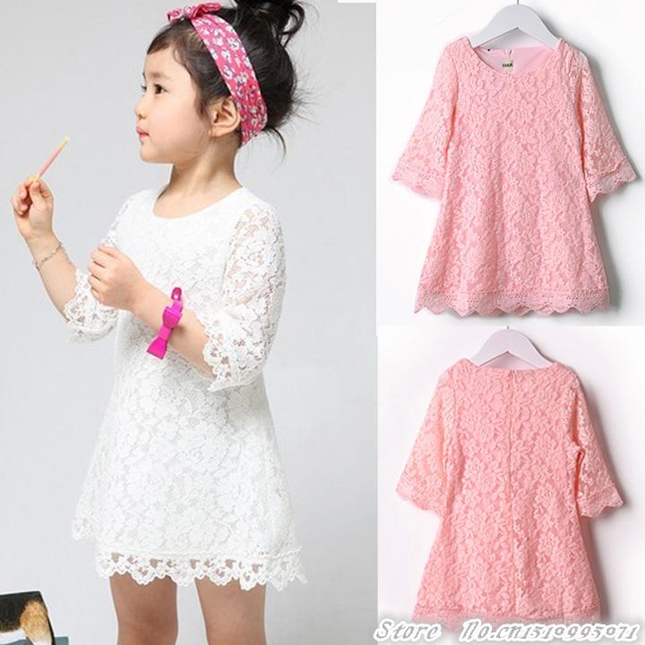Hot sale! 2014 New Fashion Korean Children Beautiful White Girls Lace Dress Princess Dresses Kid Baby Clothes Lace SV001277 #2(China (Mainland))