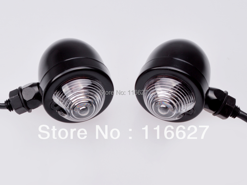 For Harley Electra Glide Softail Sportster Black/Clear Lens Bullet Turn Signal(China (Mainland))