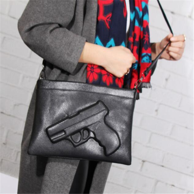 [NEWTALL] Women Shoulder Crossbody Bag 3d Gun Handbags Clutch PU Leather Pistol Bags Chain Ladies Black Messenger Bag j7031715(China (Mainland))