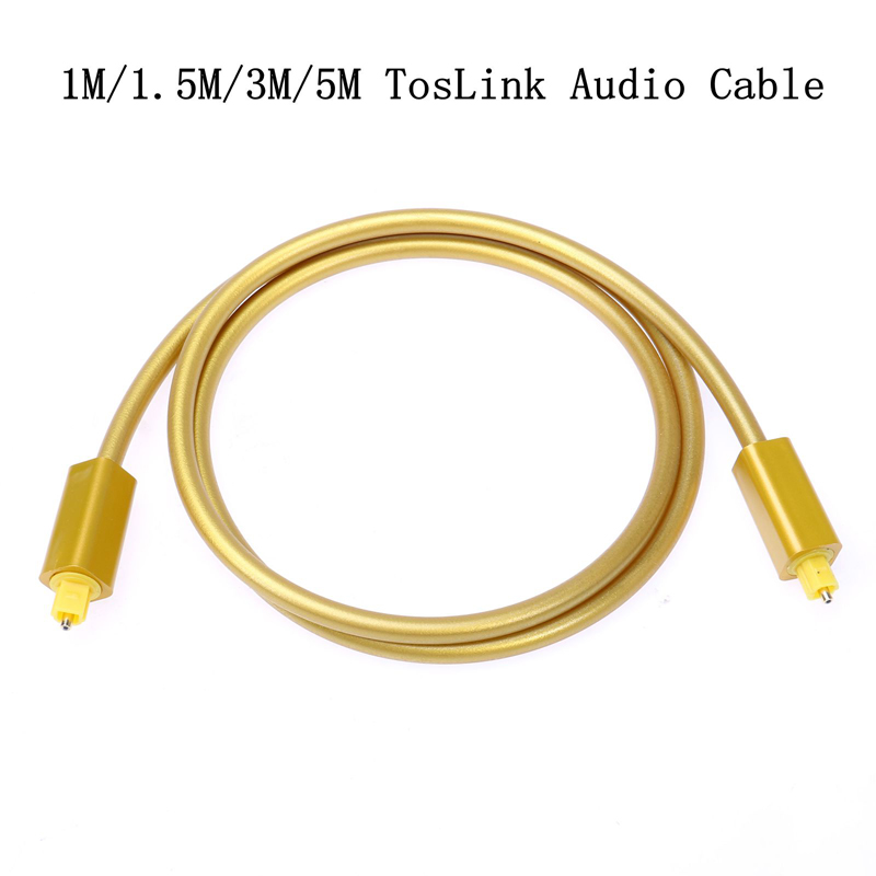 Multimedia Gold Male-Male Fiber Optical Audio SPDIF MD DVD TosLink Cable Lead Cord OD 6.0mm(China (Mainland))