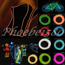 9 Colors 3M EL Wire Tube Rope Battery Powered Flexible Neon Cold Light Car Party Wedding Decor With Controller Free Shipping(China (Mainland))