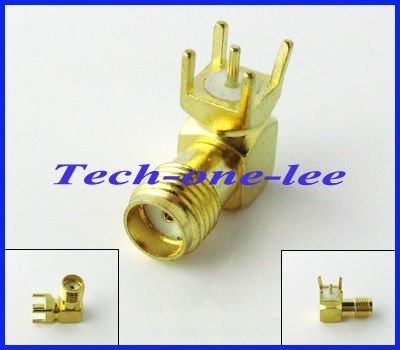 Free shipping (10pieces\lot) SMA female Jack right angle PCB mount thru hole coaxial connector