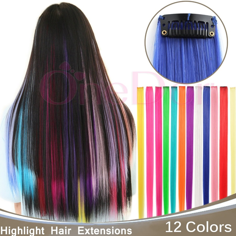 "23""10pcs Single Color Hairpiece Straight Synthetic Hair Extension Colored Party Highlight Clip In Hair Extensions(China (Mainland))"