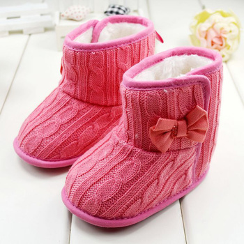 Fashion Winter New Toddler Infants Fleece Snow Boot Baby Shoes Infant Knitting Bowknot Crib Shoes Hot Baby Warm Shoes