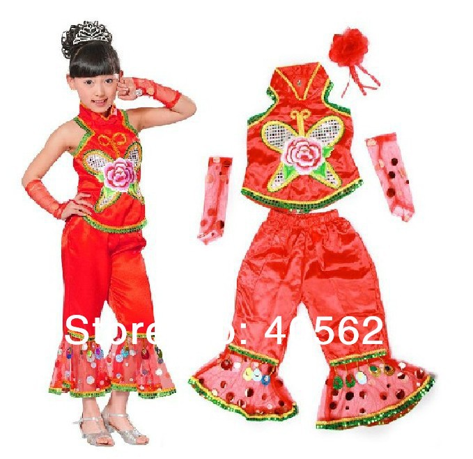 20set/lot Girl Embroidered Roses Suspenders + Bell-bottomed Pants Folk Dance Suit Children's Dancewear Performance Stage Costume