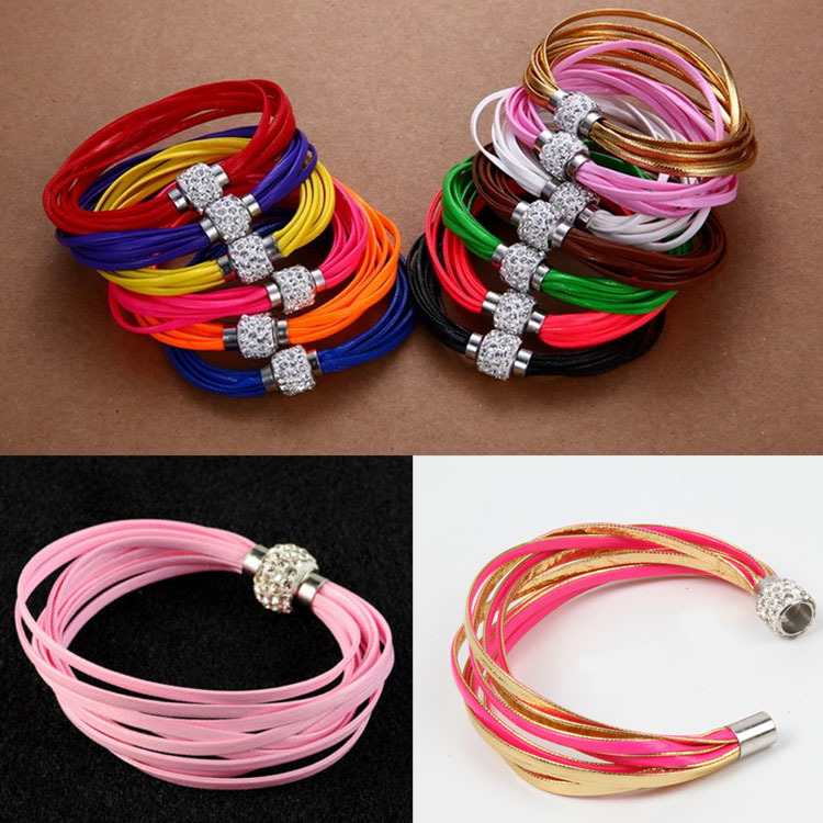 New Women Fashion Jewelry PU Trendy Multilayer Leather Bracelet With Magnet Clasp 13 Colors BL-001962(China (Mainland))