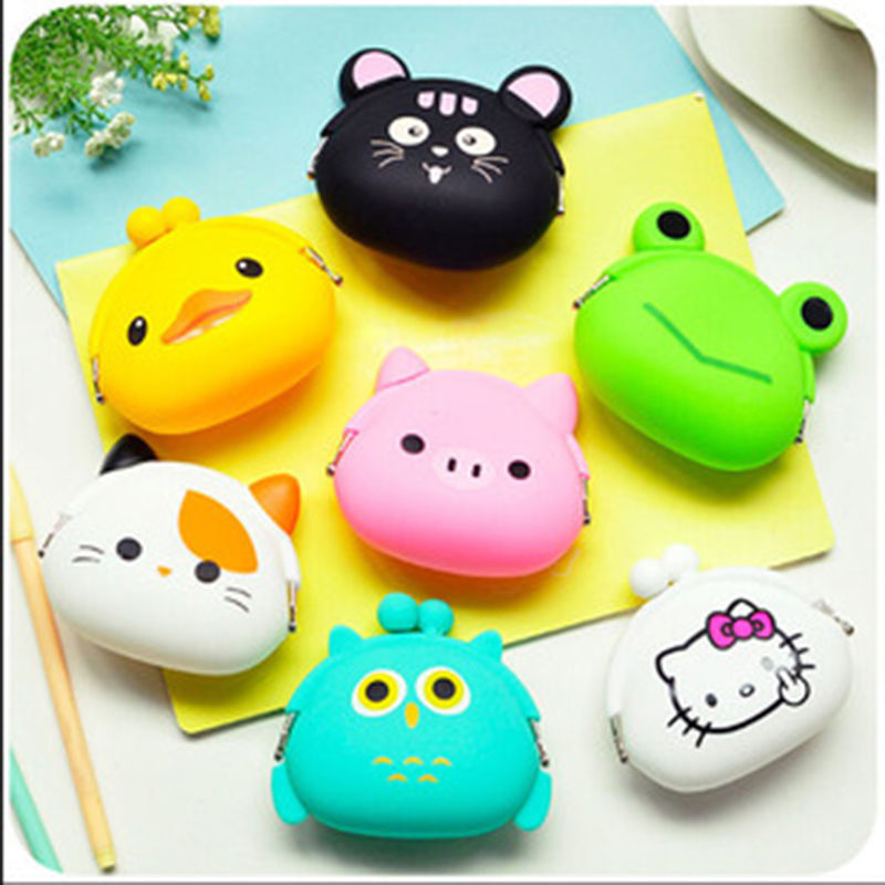 Lovely Women Kids Girls Cute Cartoon Silicone Coin Purse Storage Bags Wallet Bag