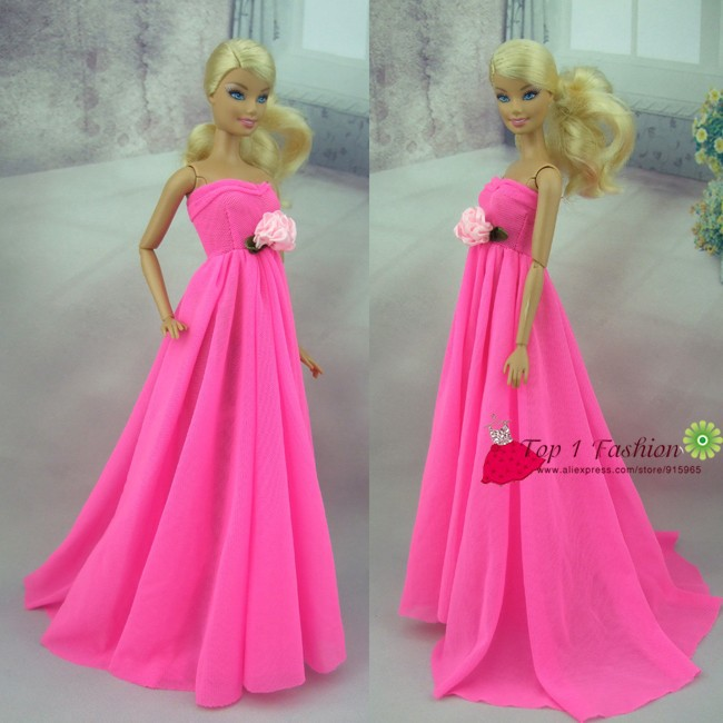 Free Transport  Rose Pink Magnificence Grenadine Night Occasion Wedding ceremony Costume For Barbie Doll