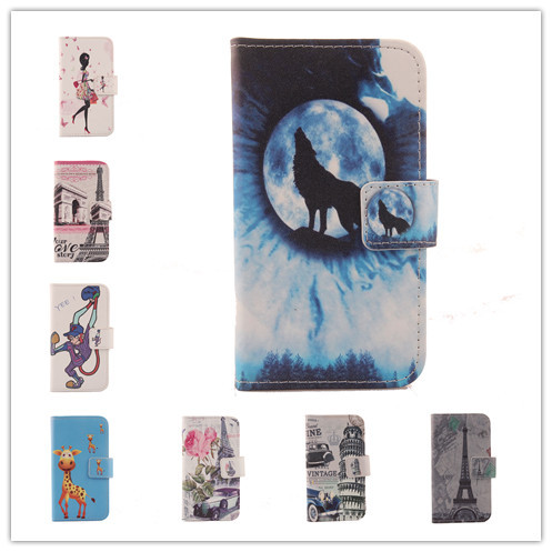 For Fly 5i H2000 Hot Painted Cartoon Elegant Flip Cover Skin Pouch With Card Slot Colored Drawing PU Leather Case Phone Case(China (Mainland))