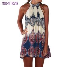 Buy 2017 Vintage Women Boho Dress Printed Halter Neck Sleeveless Hippie Mini Summer Dress Plus Size Vestidos Sexy Women Beach Dress for $6.27 in AliExpress store
