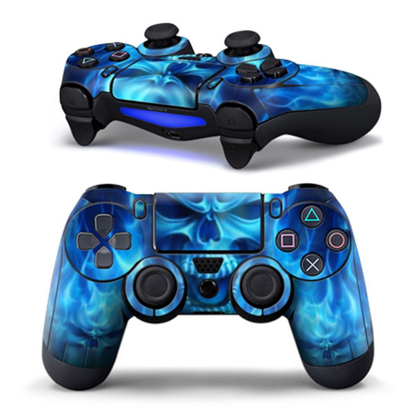 Hot PVC Blue Skull Sticker Skin Protector Decal For Sony for PS4 Playstation 4 Dualshock Controller(China (Mainland))