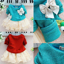 Fancy Baby Girls Knit Sweater Tops Lace Tulle Tutu Bow Party Dresses Clothing UK(China (Mainland))