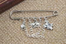 12pcs Alice in Wonderland inspired I'm late themed charm with chain kilt pin brooch (50mm)