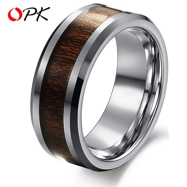 OPK JEWELRY 100% Tungsten Steel Ring Brown Color Carbon Fiber  Ring  EuropeStyle 233 Free Shipping