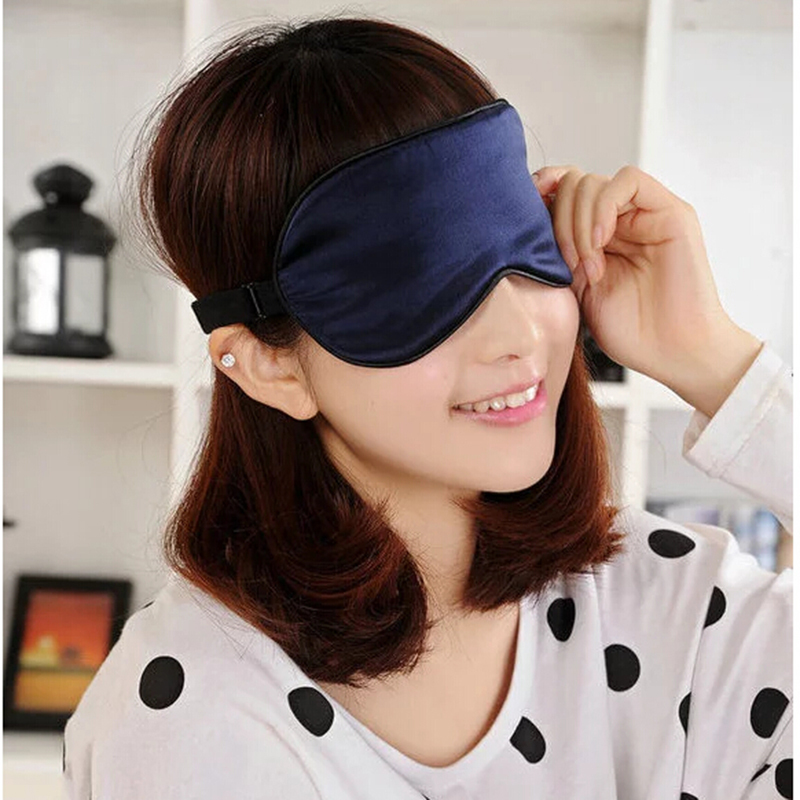 Best Price Silk Eyeshade Soft Eye Mask Sleeping Aid Shade Cover 22.5*11Cm Travel Relax Blindfold NEW Sleep & Snoring(China (Mainland))