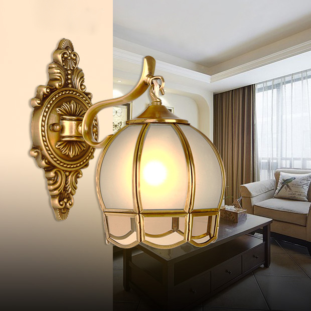 Copper Bedside Wall Lamps : Aliexpress.com : Buy Fashion vintage copper wall lamp bedside glass scrub wall lights e27 from ...