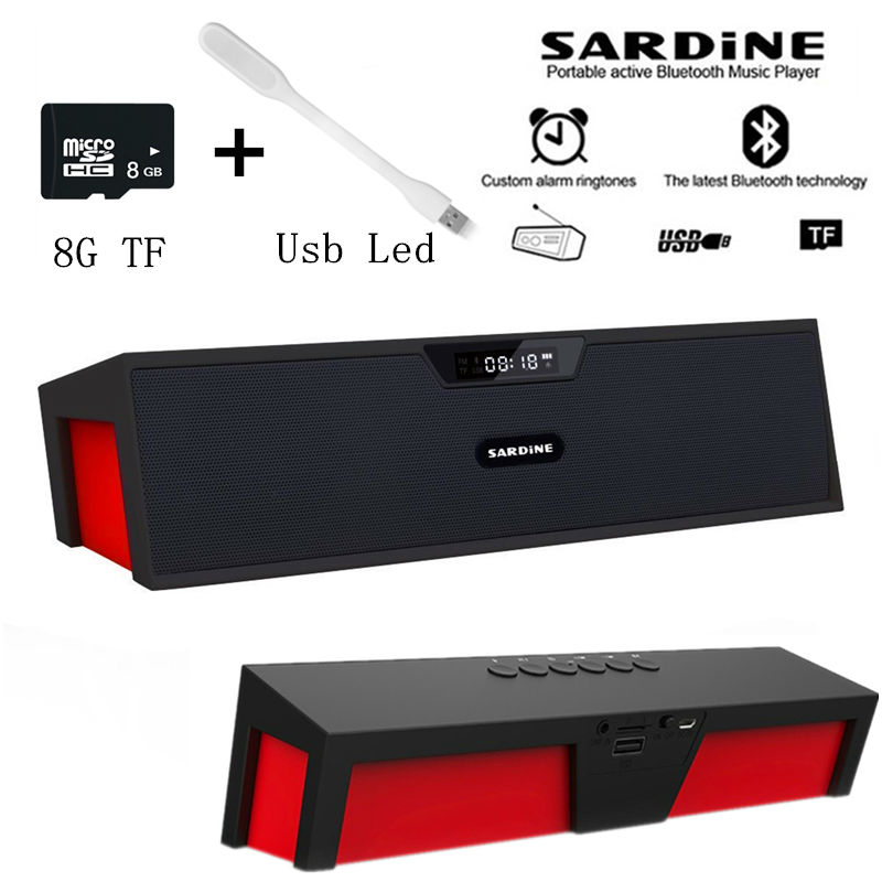 Big power 10W Sardine HIFI portable wireless bluetooth Speaker, Stereo Soundbar TF FM radio subwoofer column for computer player(China (Mainland))