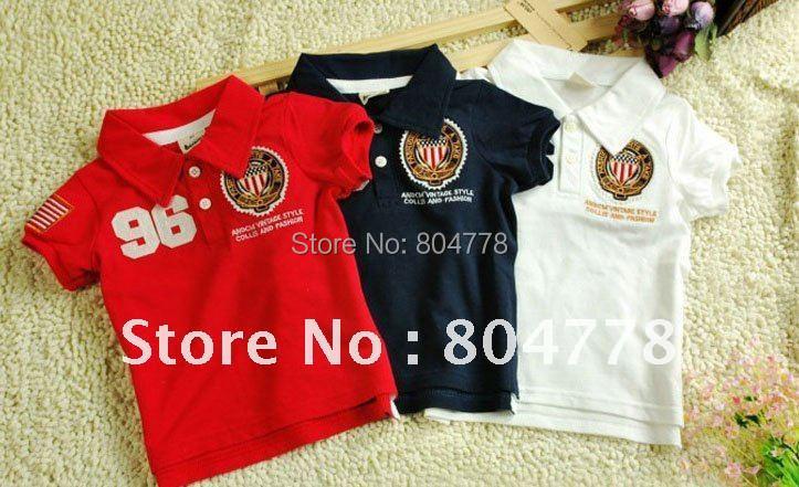 Boy T-shirt Summer 100% Cotton Children Tee Tops No. 96 Kids polo shirt Wholesale 5pcs/lot(China (Mainland))