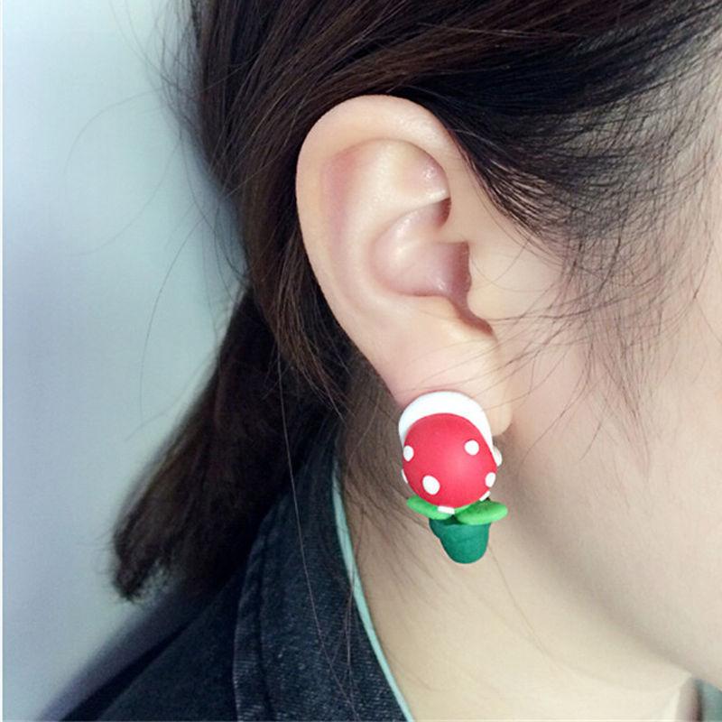 Fashion 1 Pair Handcraft Polymer Clay Super Mario Piranha Plant Corpse Flower Ear Studs Jewelry(China (Mainland))