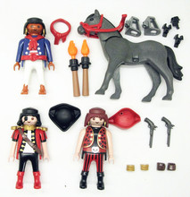 Brand new Playmobil Geobra original model pirates & gray horse Action figure with small parts Collectible children toy(China (Mainland))