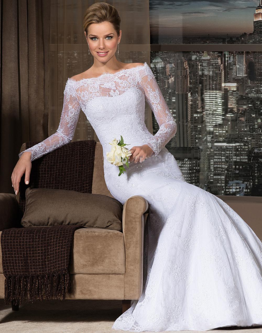 Vestidos De Novia 2015 Sheer Bateau Neckline Long ...