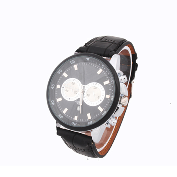 1pcs men watch Fashion Man 2 Dials Style Quartz Leather Calendar Date Wrist Watch kids brand Watch Gift Relogio