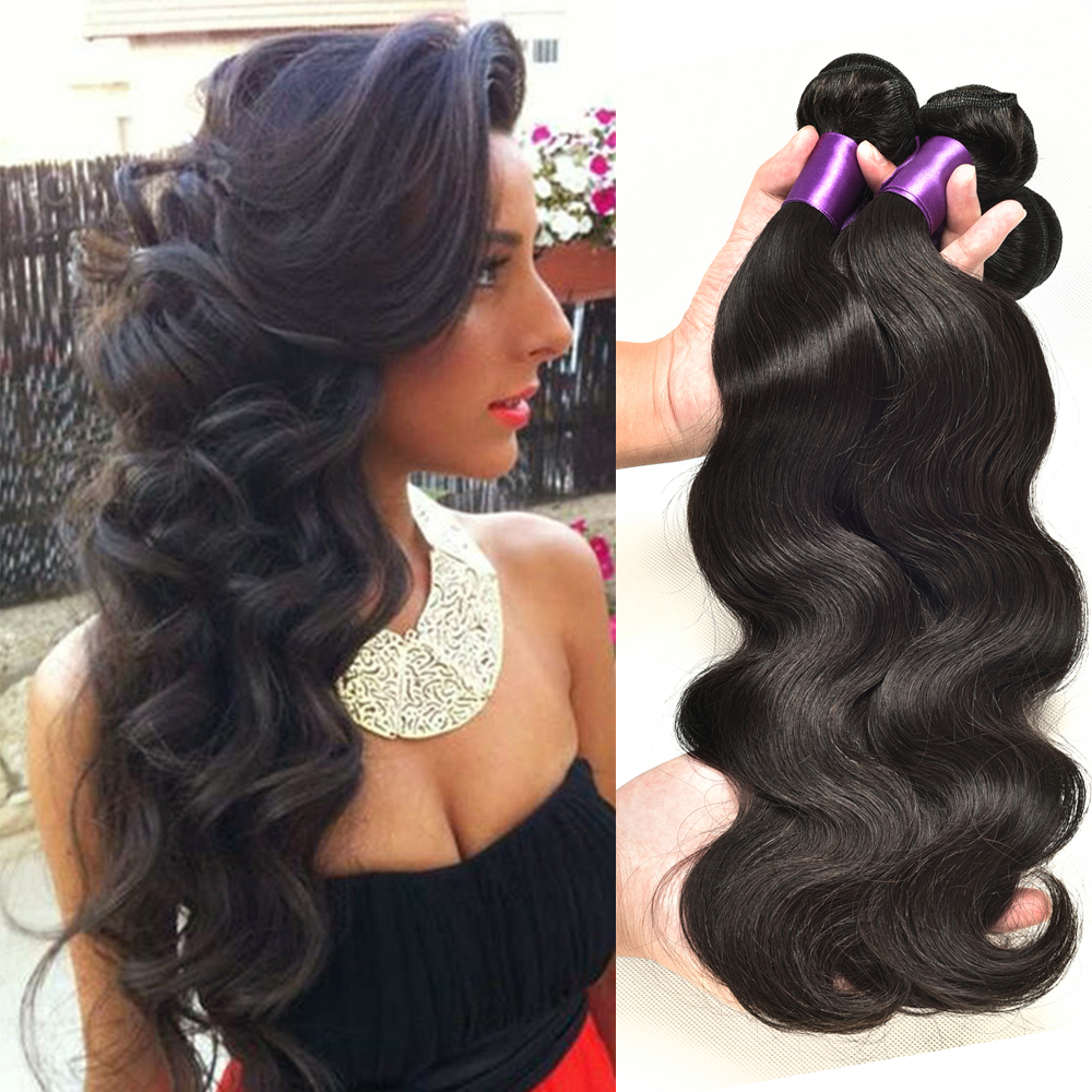 Peruvian Virgin Hair Body Wave 3pcs lot Bele Virgin Hair Peruvian body Wavy Virgo GEM Vip Beauty Hair Company Pervian Hair #1b(China (Mainland))