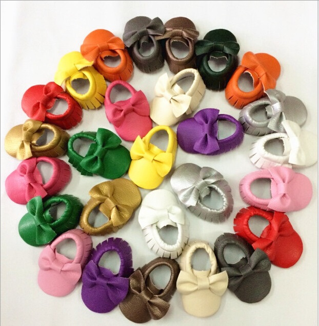 Better quality Bulk sell 180 pcs Soft Leather Baby girls Shoes Moccasins Eco Friendly big order wholesale(China (Mainland))