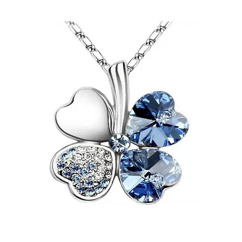 (3) 18 colors Crystal Necklace Four Leaf Clover Necklaces Fashion Pendant - Victorian jewelry 's store