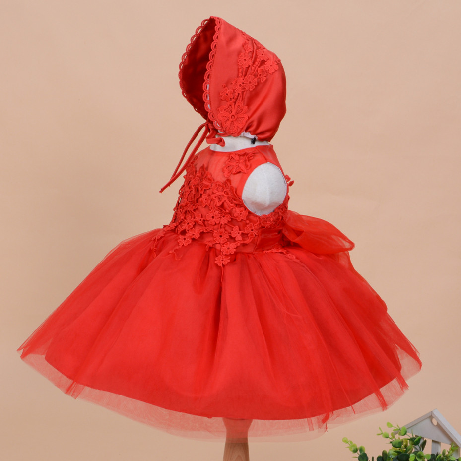Latest Baby Girl Baptism Dresses Solid Red Sleevless Vestido For 1 Year Old Birthday Party 2017 Formal Baby Clothes SKF154713(China (Mainland))