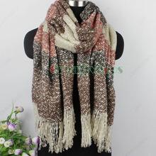 Man s Women s Unisex Winter Warm Soft Mohair Knitted Stripes Long Scarf Wrap Tassel Shawl