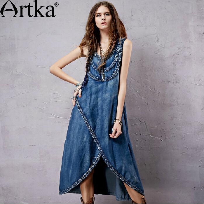Artka vintage bohemian dress 2015 summer printed dress LN14053X(China (Mainland))