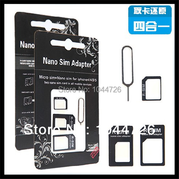 Nano SIM Adapter For Iphone 5 4 In 1 From Nano to Micro Mini Sim With Retail Box with eject 10pcs /lot 2set ( 2package got)