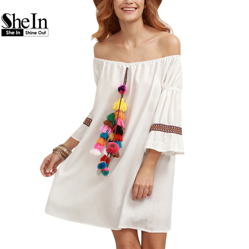 SheIn Woman Summer Beach Short Dresses Ladies Casual White Tassel and Woven Tape Embellished Off The Shoulder Dress(China (Mainland))